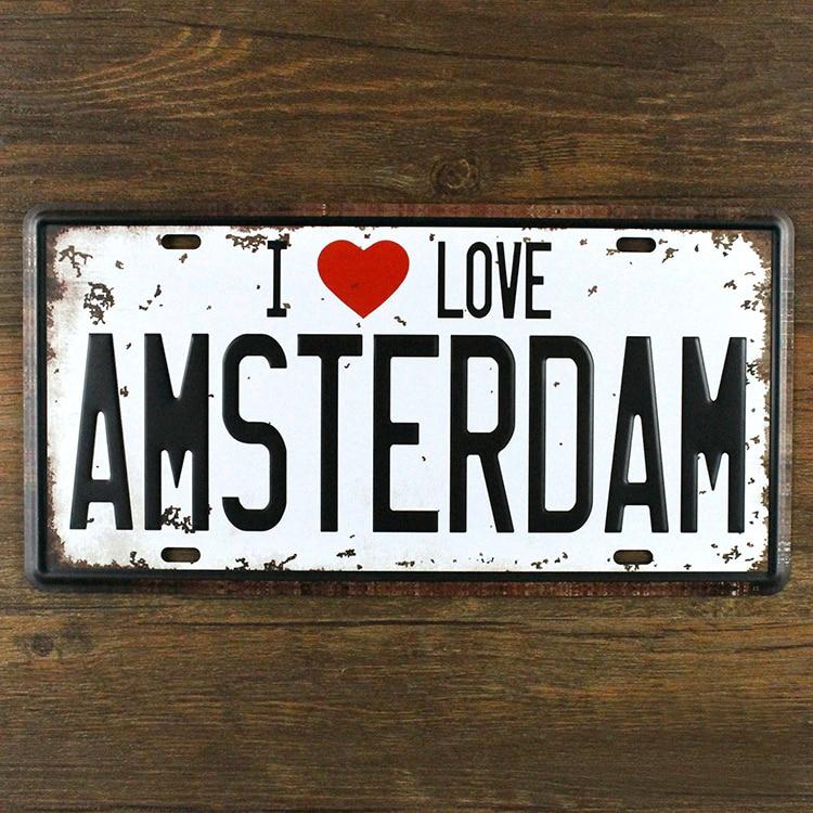 buy vintage license plate i love amsterdam netherlands metal carfts tin sign. Black Bedroom Furniture Sets. Home Design Ideas