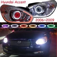 car head lamp for Hyundai Accent Headlight solaris 2006~2009year DRL Bi Xenon Lens solaris head light HI LO HID Fog Lamp