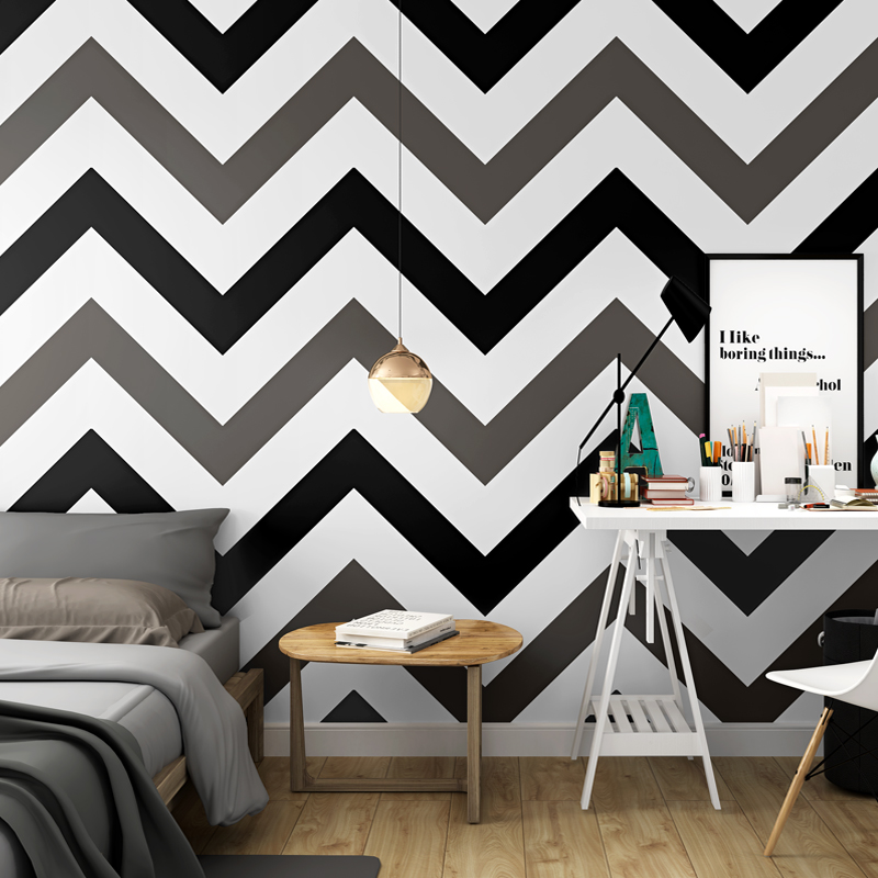 Pink Yellow Blue Black And White Zigzag Wallpaper Modern Large Chevron Geometric Wall Paper Rolls For Living Room