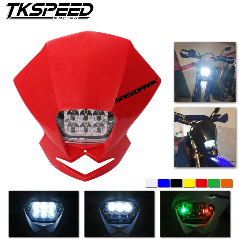 Free Shipping Universal LED Motorcycle Accessories Motocross Headlights LampEnduro For KLX KDX KTM RMZ DRZ DR XR