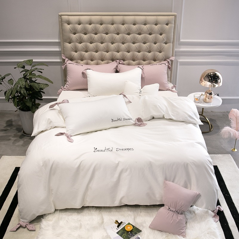 Egyptian Cotton White Pink Bedding Set Girls Bedsheets Duvet Cover Fitted sheet 4 7Pcs Queen King