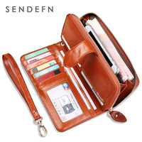 SENDEFN Fashion Genuine Leather Women Wallet Phone Pocket Purse Wallet Female Card Holder Lady Clutch Carteira
