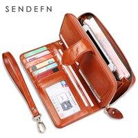 SENDEFN Fashion Genuine Leather Women Wallet Phone Pocket Purse Wallet Female Card Holder Lady Clutch Carteira