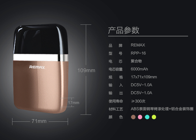 Remax RPP-16 for Smartphones PowerBank Original 6000mAh Portable Charging Mobile Phone Charger Bateria Externa Power Bank