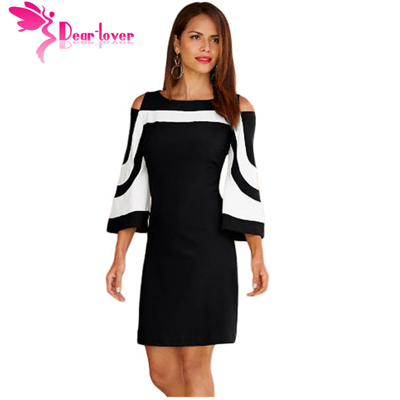 Dear Lover Office Ladies Work Wear Dresses Elegant Black White Colorblock 3/4 Sleeve Dress Casual 2017 Autumn Vestidos LC220190
