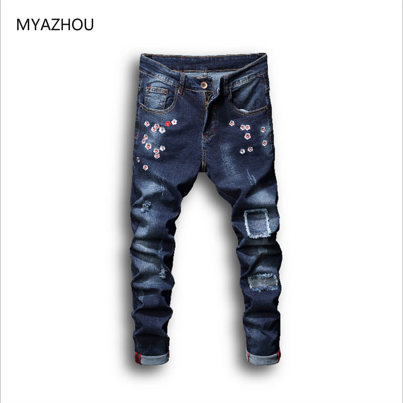 Mens Fashion Stretch Skinny Jeans Plus Size 28-38 2018 Summer Brand High Quality Embroidery Decoration Patching Hip-Hop Jeans