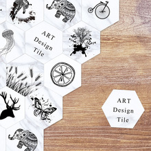 Northern europe art home decoration Tile sticker black and white floor self-sticking PVC wall  10/pcs