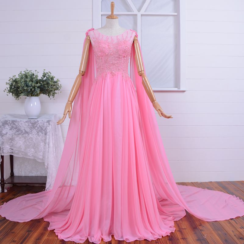 new hot Sexy long   Prom     Dresses   lace pearls vestido de festa real photos evening   dress   2015 lace appliques pink blue chiffon