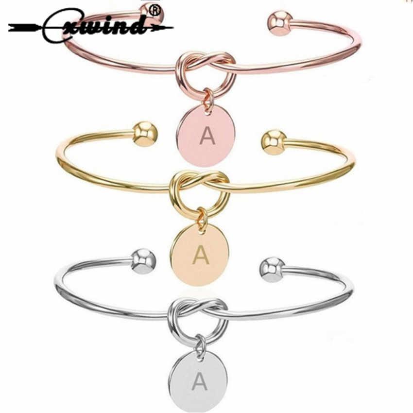 Cxwind אופנה מכתב A-Z עניבת קשר ראשוני צמיד לב קשר צמידי צמידי Adjustabl תכשיטי לנשים ילדה יום הולדת מתנות