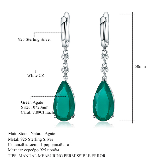 Gem's Ballet Natural Green Agate Drop Earrings 925 sterling silver Earrings For Women Fine Jewelry Gift 2017 Fashion Style -in Earrings from Jewelry & Accessories on Aliexpress.com | Alibaba Group