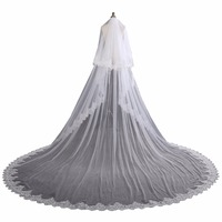 ZYLLGF 2 Layer Wedding Veil Long Cathedral Length Bridal Veils With Comb Lace Edge Veil For Bride Velo De Novia Catedral BL11