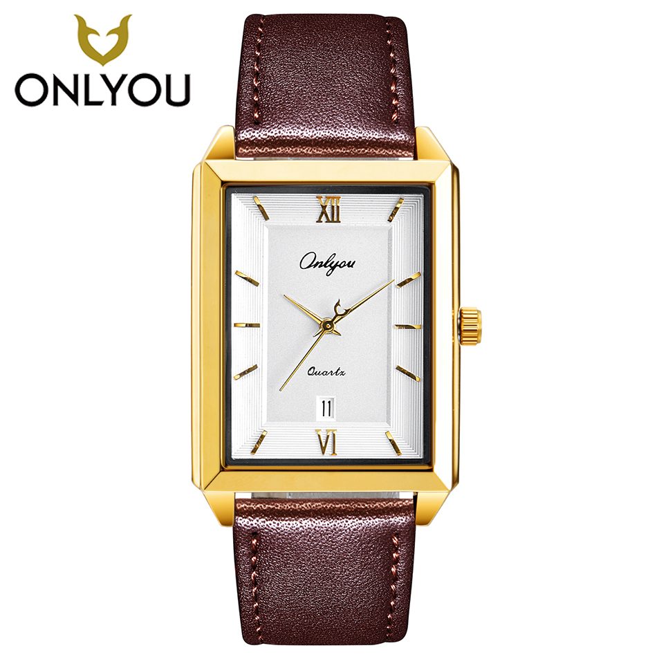 ONLYOU Men Watch Fashion Gold Women Quartz Watches Luxury Rectangle Leather Watchband Square Clock Male Lover Wristwatch Ladies onlyou brand luxury fashion watches women men quartz watch high quality stainless steel wristwatches ladies dress watch 8892