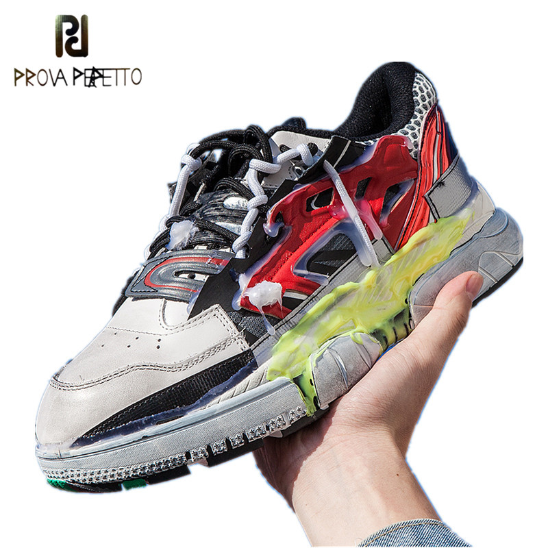 Prova Perfetto 2019 Fashion Dirty Made Color Blocking Sneakers Lover s Shoes Chunky Platform Casual Men