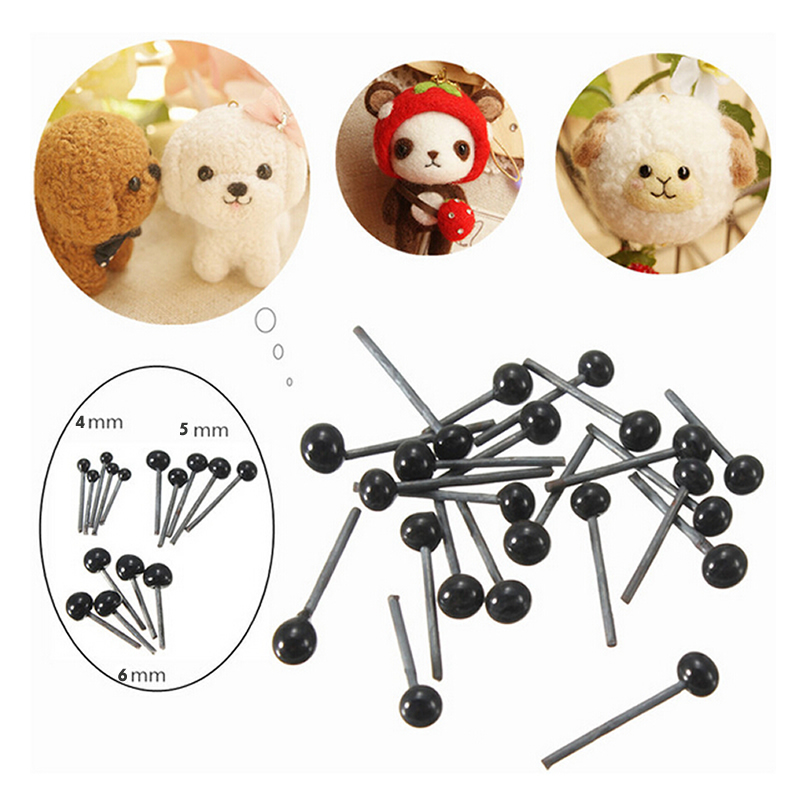 CCINEE 150 Pairs/lot Glass Flat Eyes Kit 4/5/6 mm For Needle Felting Craft Baby Animals Dolls DIY Accessories Needle Doll eyes flat cheasted dolls