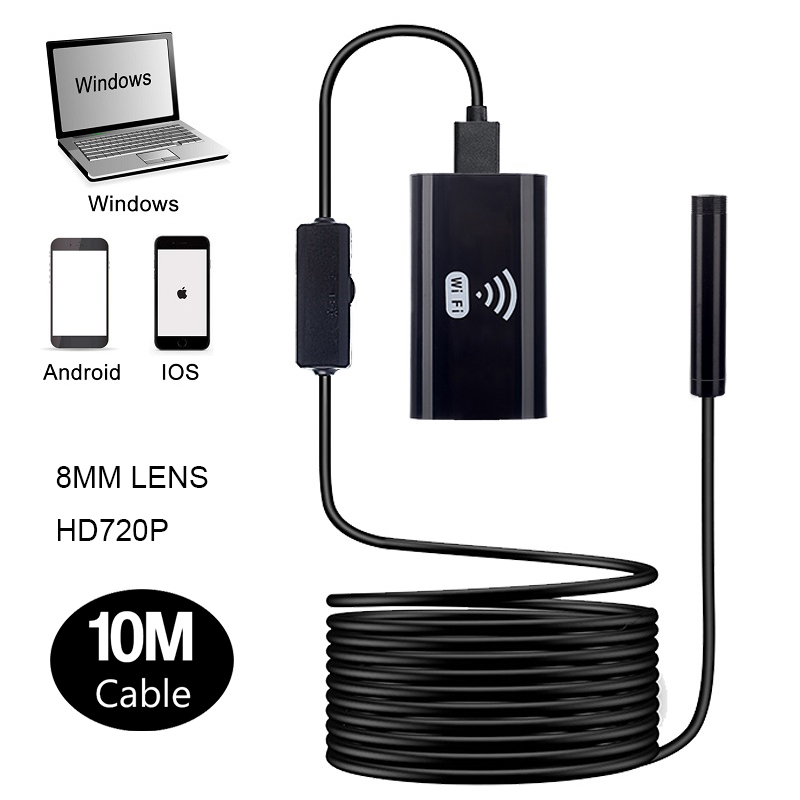 F99 10m hard wire IP67 waterproof android camera wifi endoscope borescope 8MM lens micro usb endoscope for smartphones
