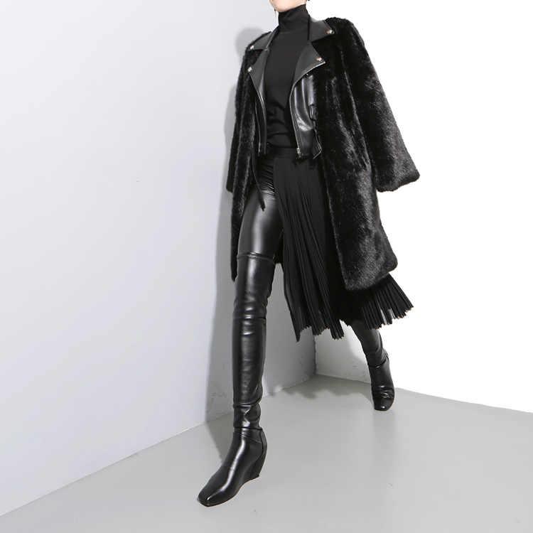 2020 koreanische Stil Frauen Schwarz Falten Chiffon Rock Einstellbare Leder Gürtel Hohe Taille Split Damen Einzigartige Midi Röcke 876
