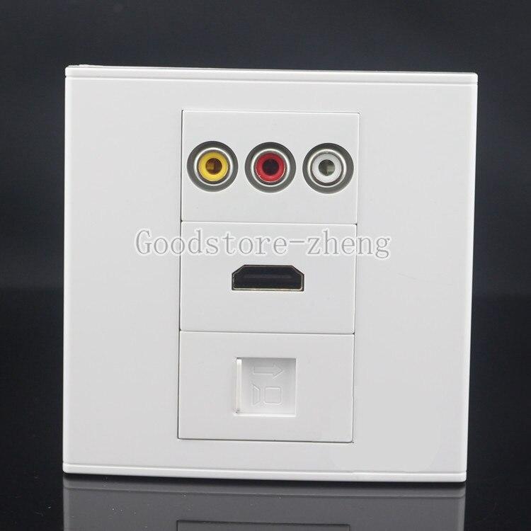 Wall Face Plate 3RCA AV + HDMI+ RJ45 CAT6 LAN Socket Assorted Panel Faceplate