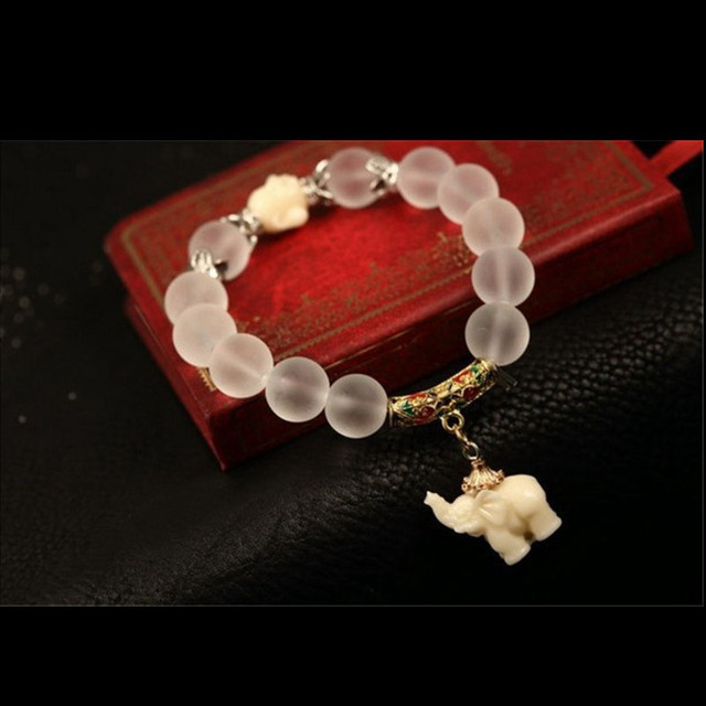 Antique Silver Buddha Crystal Elephant Charm Bracelet