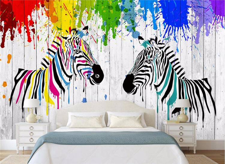 Watercolor zebras simple rural 3D boardwalk background wall in the background of a 3D design of the zebra 3D retro texture wood in Wallpapers from Home Improvement