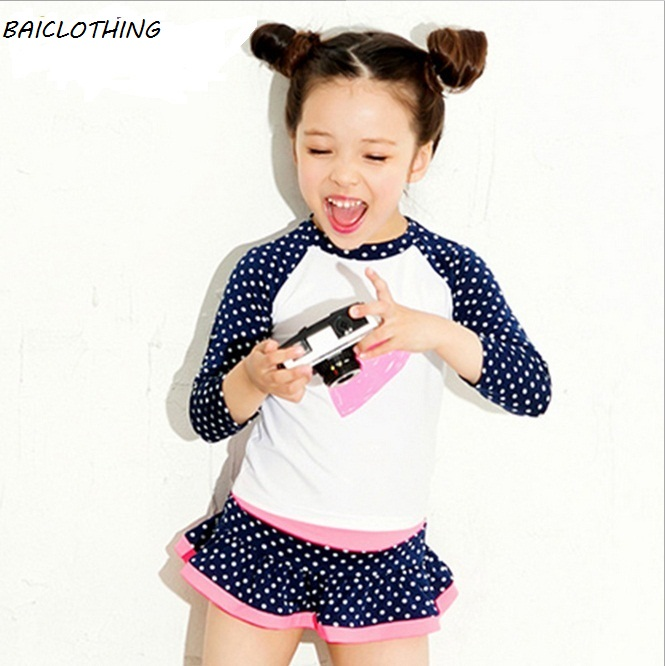 2132b1c50 ̀ •́ High Quality Girls Long sleeve Anti UV Swimsuit Two-pieces Kids ...