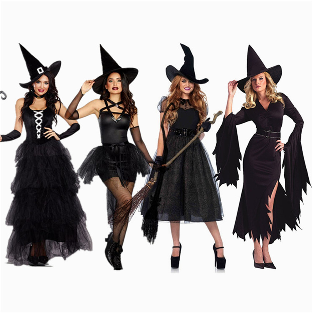 <font><b>Halloween</b></font> <font><b>Sexy</b></font> Witch Costumes Adult Women Queen Carnival Party <font><b>Cosplay</b></font> Fancy Dress image