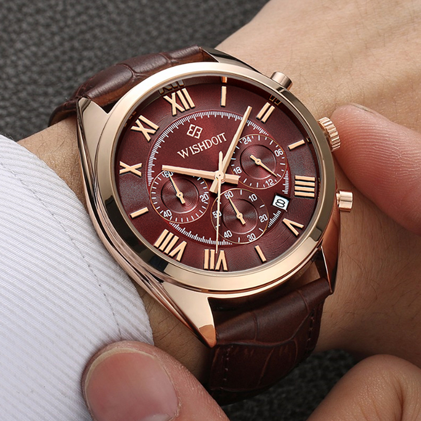 Mens Business Waterproof Quartz Watch Top Brand WISHDOIT Leather Men Sports Watches Fashion Casual Military Rose Gold Male Clock ...