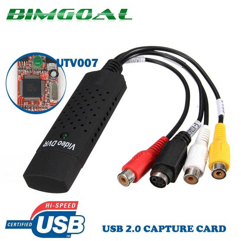 USB 2.0 Video Capture Grabber Card adapter Chipset UTV007 TV DVD VHS Captura De Áudio S-vídeo Adaptador Conversor USB apoio Win7