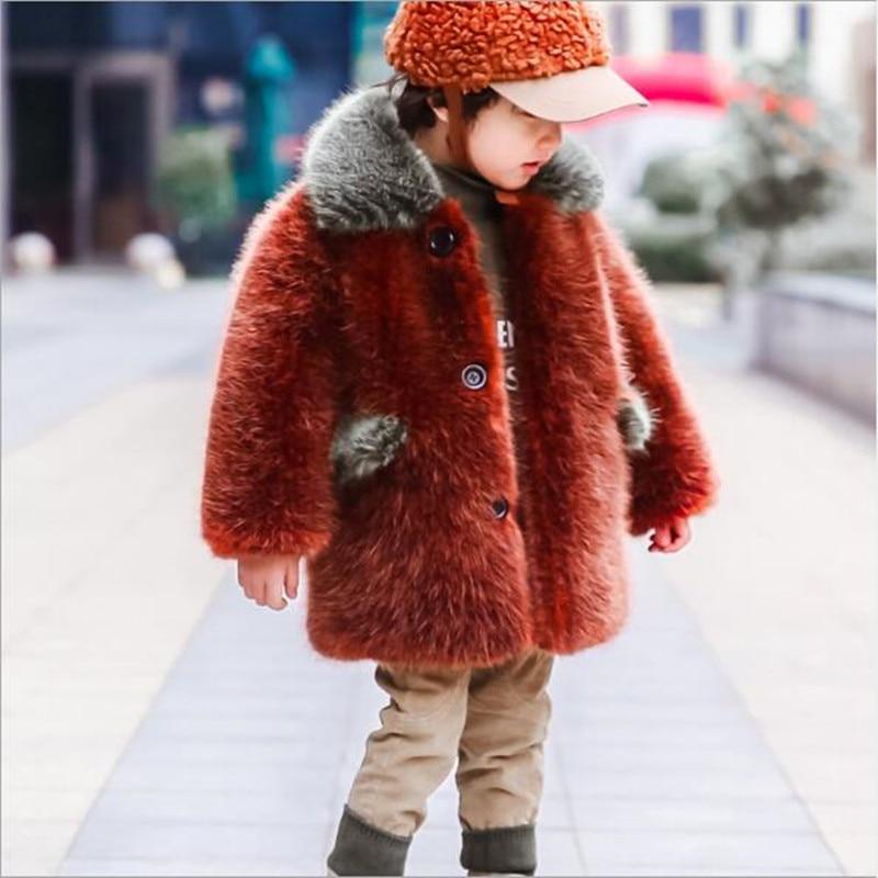 433112027 Furry Baby Faux Fur Coat Girl Boys Clothes Imitation Fur Kids Warm ...