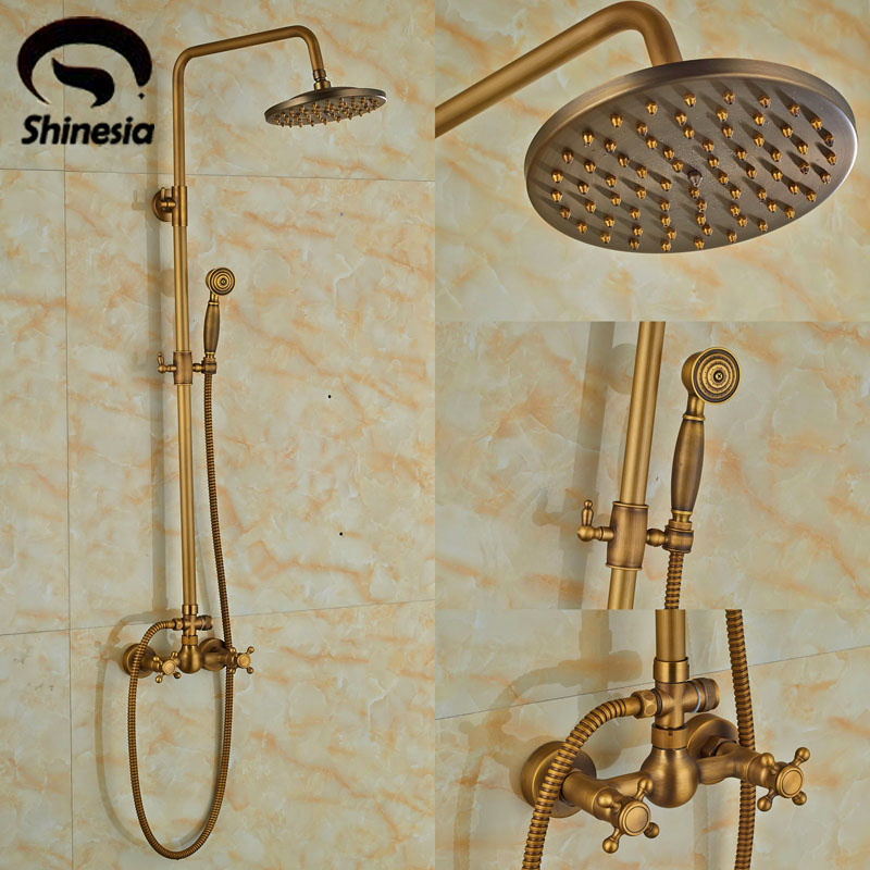 цена на Newly Antique Brass Bathroom Shower Set Faucet 8 Inch Rain Round Shower Head W/ Handheld Shower Wall Mount Double Handle