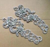 Gratis verzending 22*7.8 cm lange bloem trim clear crystal rhinestone applique silver voor trouwjurk bontjas naaien decoratie