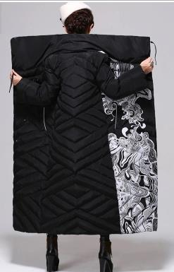 Knee-high long down jacket more women cultivate one's morality printing fashion tide loose big yards long eiderdown outerwear
