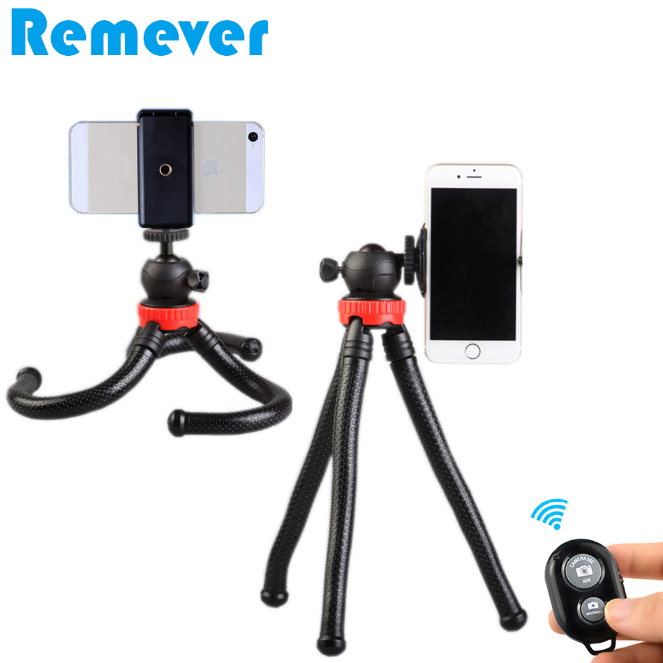 Mini Flexible Tripod With Phone Holder Lightweight Octopus Tripods with Ball Head for Gopro Cameras Bluetooth Remote for Phones