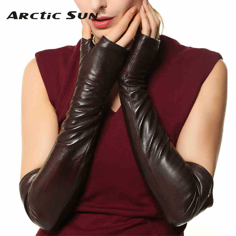 Top quality sheepskin gloves women long fingerless 49cm Genuine leather