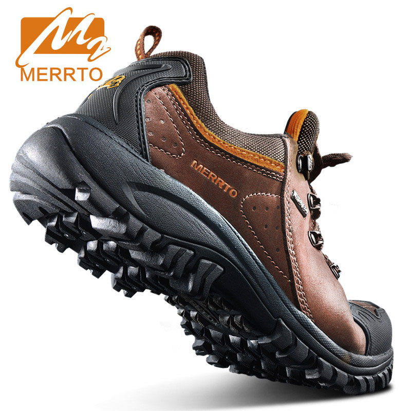 MERRTO Brand Men Sport Shoes waterproof Outdoor Walking Shoes Breathable Comfortable Cushioning Genuine Leather Sneakers
