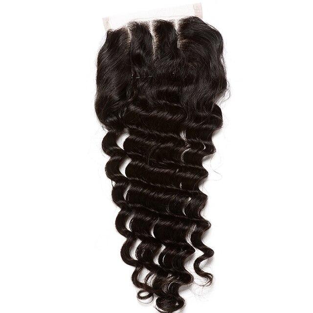 Deep Wave 5x5 Lace Closure Bleached Knots Human Hair Closure