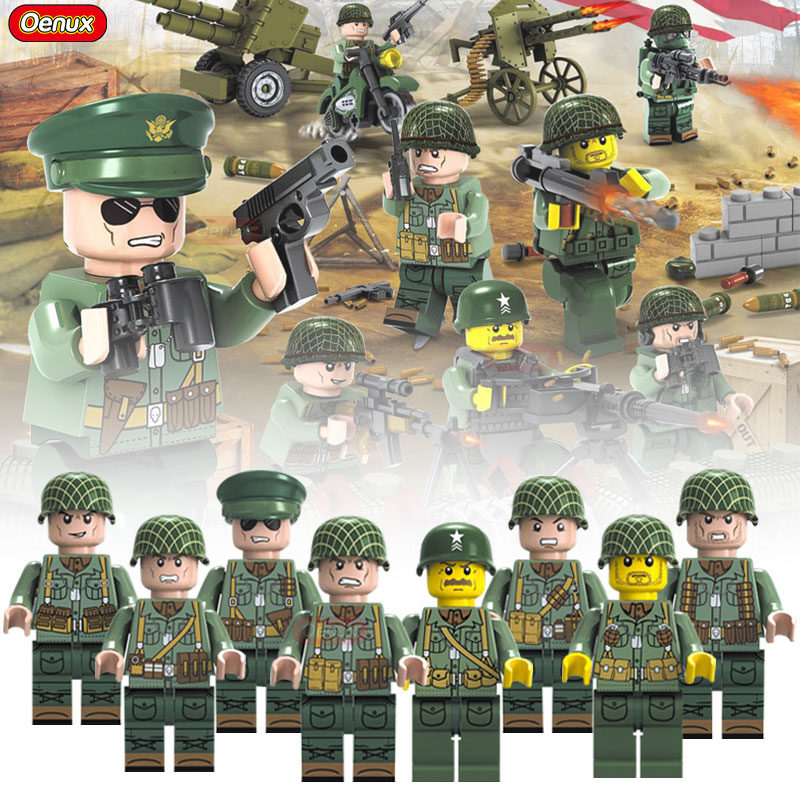 Oenux New World War 2 The Battle Of Normandy Military Scenes Building Block USA Army Soldier Figures DIY Brick Toy For Boys Gift oenux world war 2 united state army air forces fighter p 47 thunderbolt aircraft vehicle model military building block brick toy
