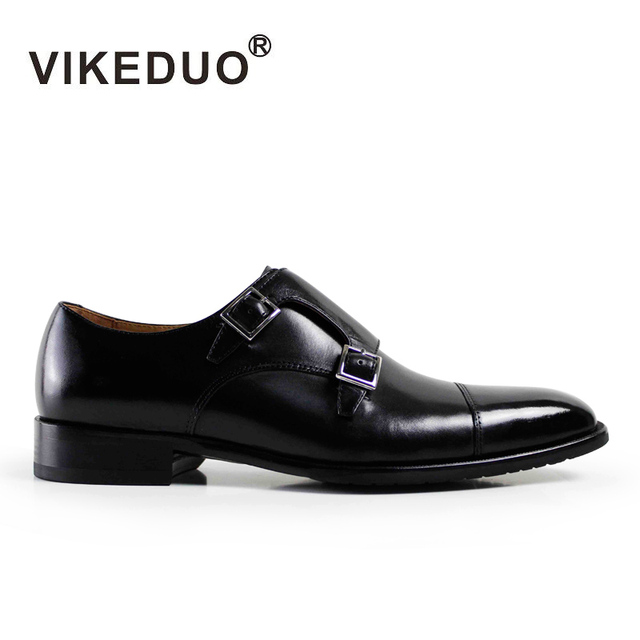 Vikeduo 2019 Handmade Designer Black Vintage Wedding Party Shoes Fashion Brand Male Shoe Genuine Leather Mens Monk Dress Shoes