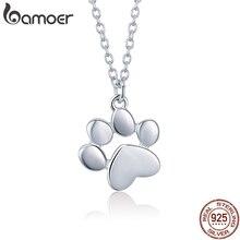 2ac0fe16027f BAMOER genuino 925 plata esterlina Animal lindo huellas perro huellas de  gato pata collares colgantes mujer joyería de plata SCN.