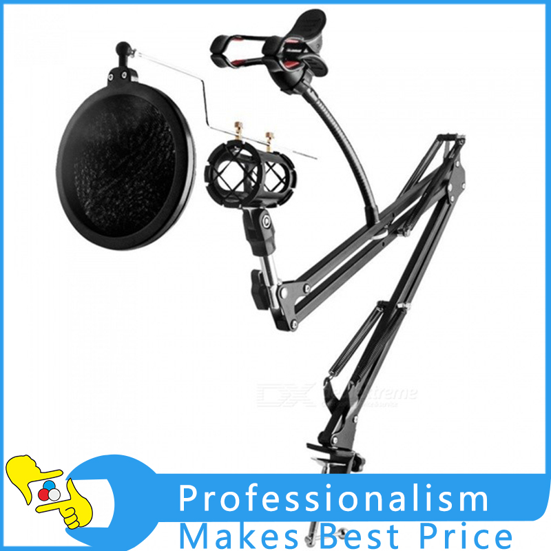 Adjustable Desk Recording Microphone Suspension Boom Scissor Arm Stand With Phone Holder Black onetigris 360 adjustable microphone stand broadcast studio mic suspension boom scissor arm stand