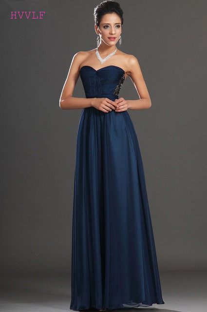 Navy Blue   Evening     Dresses   2019 A-line Sweetheart Chiffon Lace Beaded Plus Size Long   Evening   Gown Prom   Dresses   Robe De Soiree
