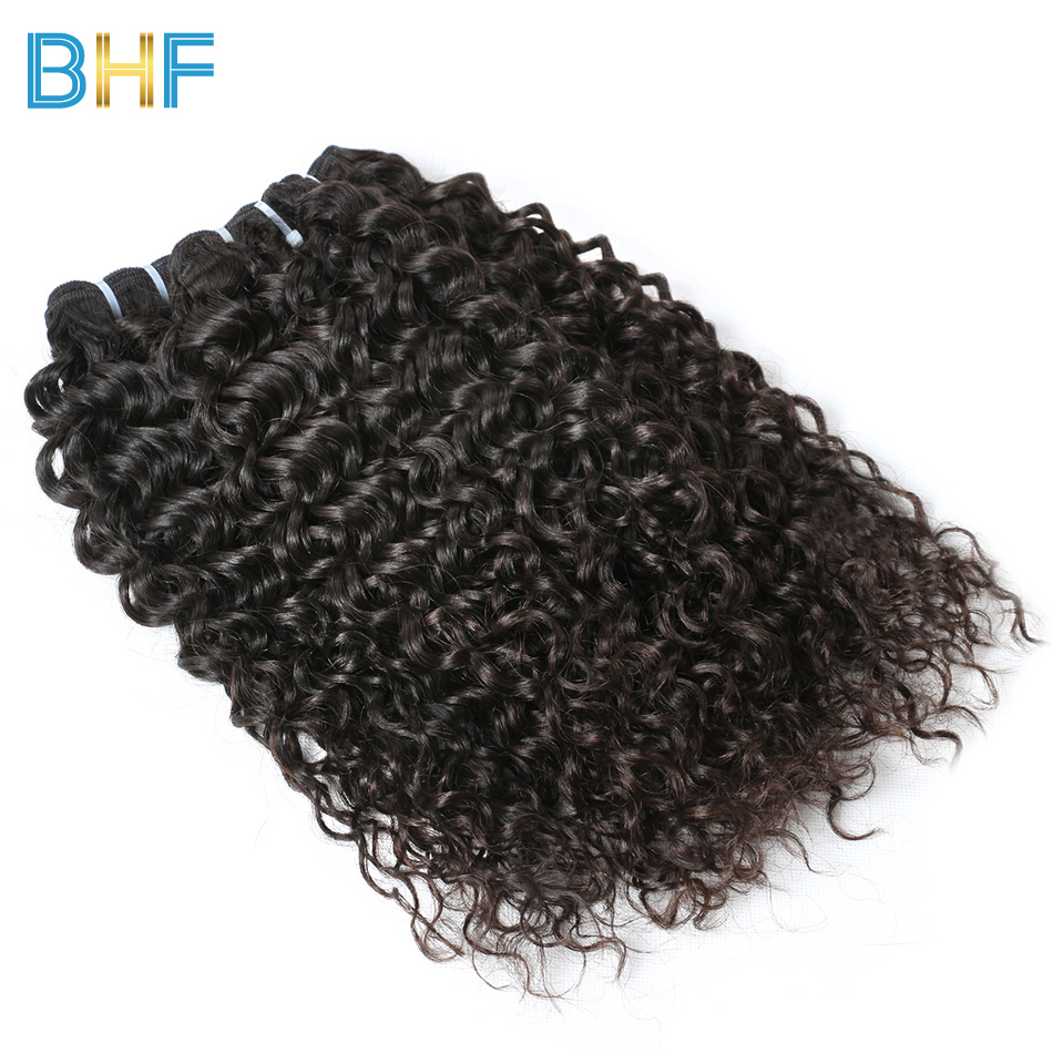 BHF 3 Bundles Brazilian Water Wave Wet And Wavy Human Hair Curly Weave Bundles Natural Color Unprocessed Brazilian Virgin Hair