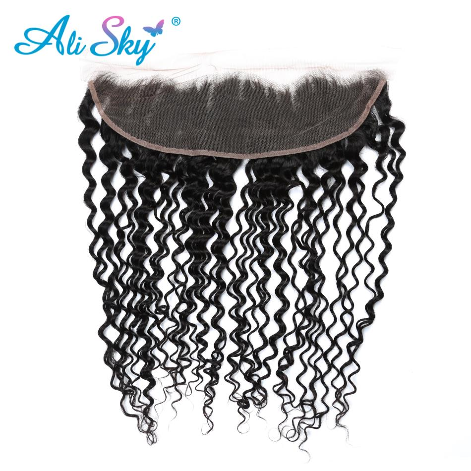 Alisky Hair 13x4 Ear to Ear Brazilian Deep Curly Lace Frontal Closure Pre Plucked With Baby
