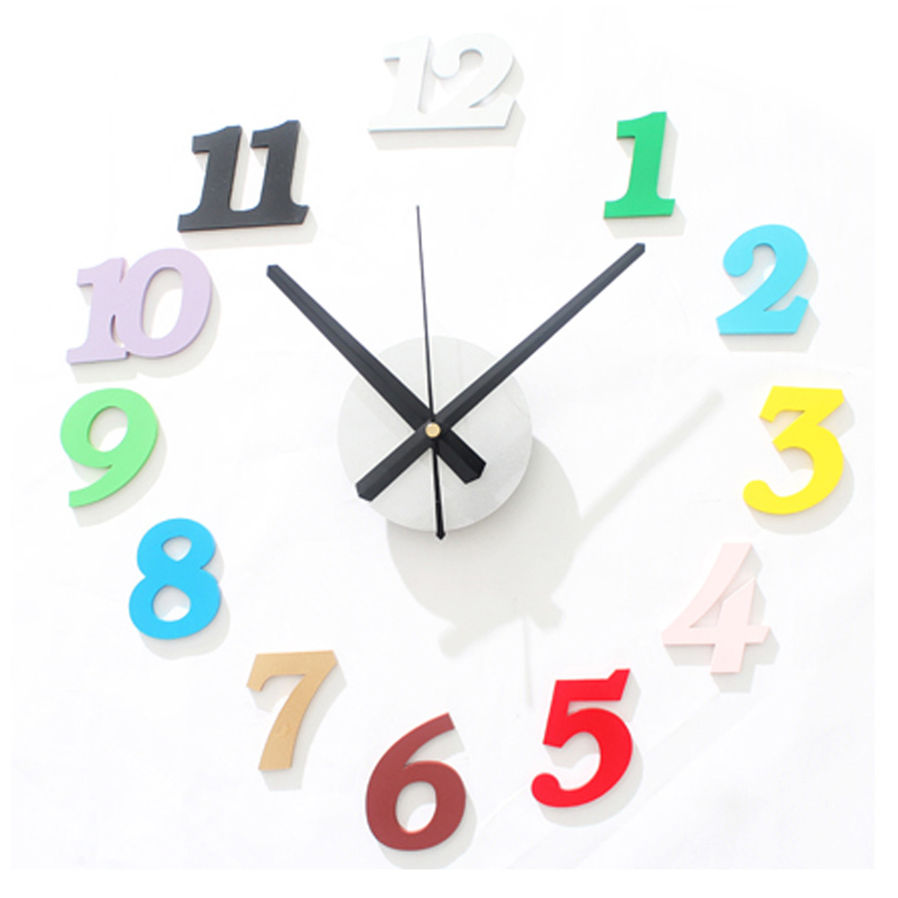 Fun DIY Wall Clock Modern Design Muti color Kids Room Clocks Unique ...