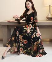 Bohemian Style Dress 2019 Summer New Arrival Round Collar Flower Printed Flare Sleeve Plus Size M 5X LWoman Chiffon Long Dress