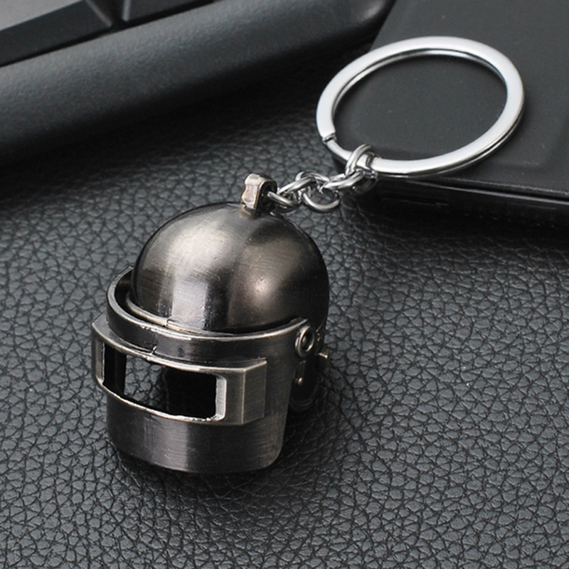 PUBG Black Gun Plated Special Corps Level 3 Helmet Keychain Playerunknown's Battlegrounds Can Opene&Closed Helmet Car Keyring