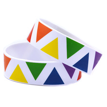 Triangle Rainbow Color Silicone Wristband For Lesbian