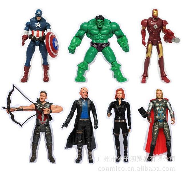 האלק ת ' ור קפטן אמריקה pvc פעולה דמויות איש ברזל 7 יח'\סט אלמנה שחורה brinquedos אוסף דמויות צעצועי מתנה לחג המולד