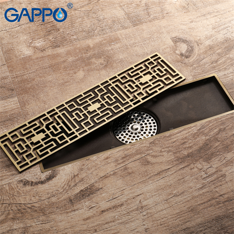 GAPPO Drains rectangle Art Carved bathroom floor cover stopper bath shower drain anti odor waste drainer