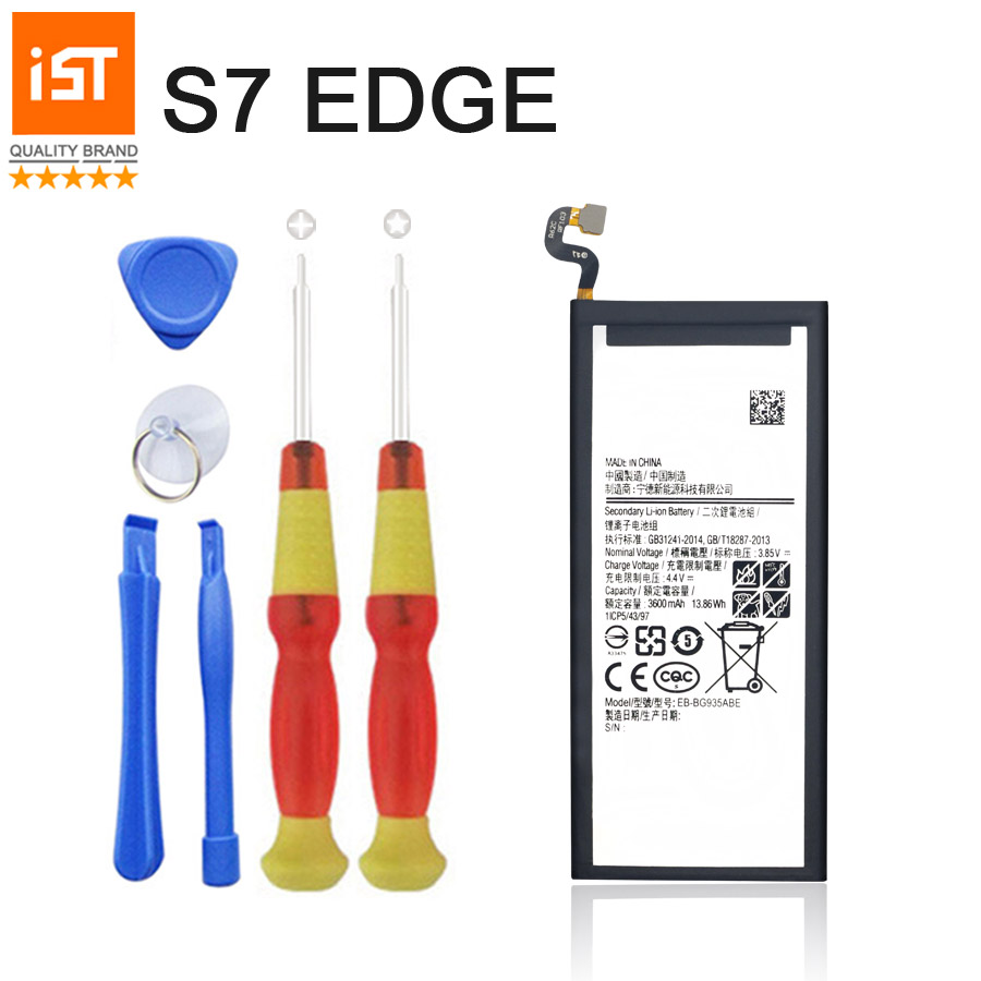 2017 New 100% IST Original Mobile Phone Battery For Samsung Galaxy S7 Edge G935F G9350 G935 3600mAh Replacement Battery Gift