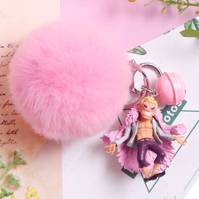 Rabbit Fur Bulb Key Ring ONE PIECE Doflamingo And Edward Newgate And Shanks Cute Key Chain Figure Toys Lovely Gifts For Girls
